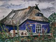 Blaue Scheune auf Hiddensee - Aquarell