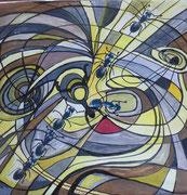 Schmerzen - Collage mit Guache - 2006