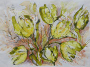 Tulpen, Rohrfeder, Aquarell, 40 x 30 cm