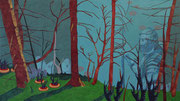 Teutoburger Wald Blues, 2019, 100 x 178 cm, Acryl, Buntstift auf Nessel
