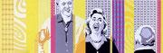 Schallendes Gelächter, 1997,  65 x 200 cm