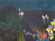 Von Lampedusa träumen, 2016, 150 x 199 cm, Acryl auf Nessel