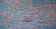 Strickente in unruhigem Wasser, 2012, 80 x 150 cm