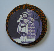 Püpp mit Papa, 2011, D= 17 cm, Acryl, Lack auf Siebdruckplatte