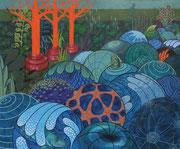 tosendes Gewässer, 2018, 125 x 150 cm, Acryl auf Nessel
