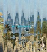 Ville Bleue - Art Numérique - Sous Plexi - 70 x 62 cm
