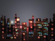 Cité de nuit  - Art Numérique -Sous Plexi -