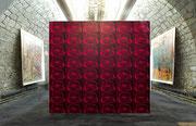 Schlünder, 2014, Print auf Neonpapier, 29,7x42 cm, Installationsansicht