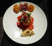 Dessert: Gefüllte Orange mit Chili-Limettencreme, Grillkäse mit Honig und Walnüssen
