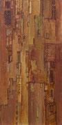 Terre rouge, élément droit du triptyque, Terre rouge, acrylique/toile, 50x100cm