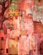 Crépuscule, collage et encre sur carton, 29x36cm 30X40