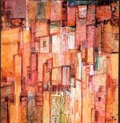 Au fil de la nuit, collage et encre sur carton, 33X34,5cm