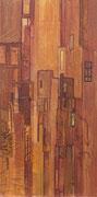 Terre rouge, élément gauche du triptyque Terre rouge, acrylique/toile, 50x100cm