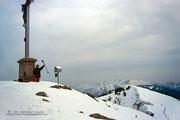Endlich am Gipfel angelangt nach langer, anstrengender Schneetreterei