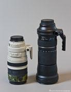 Größenvergleich - links das 100-400mm Canon, rechts das 150-600mm Tamron