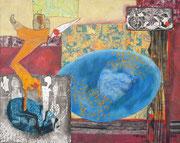 """""""Empor""""   (2018,  80x100 cm, Collage/Öl/Kreide/Bleistift auf Leinwand)"""