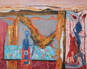 """""""Brandstifter""""  2017,   80x100 cm, Collage/Öl/Kreide/Bleistift auf Leinwand"""