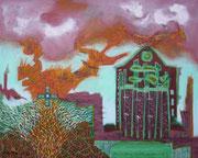 """""""Zerstörung"""" 2020,  80x100 cm, Collage/Öl auf Leinwand"""