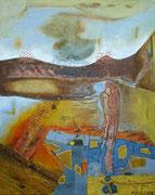 """""""Schieflage""""  2019, 100x80 cm, Collage/Öl auf Leinwand"""