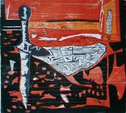 """""""Auf Messers Schneide"""" (2012, Auflage 8, Papiermaß 62x86cm, Druckmaß 47x52cm)"""