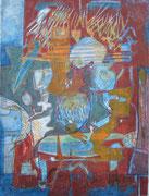 """""""Spiel"""" 2020, 45x33 cm  Monotypie/Tusche/Farb- u. Bleistift auf Büttenpapier"""