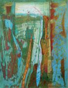 """""""Fließend"""" 2019, 65x50 cm  Monotypie/Tusche/Kreide/Farb- und Bleistift auf Papier"""