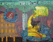 """Ankunft""  2015,  80x100 cm, Collage/Öl/Kreide auf Leinwand"
