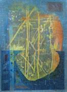 """""""Störfall"""" 2020, 45x33 cm  Holzdruck/Tusche/Farb- u. Bleistift auf Büttenpapier"""