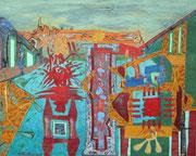 """Grenzland 2""  2016,   80x100 cm, Collage/Öl/Kreide auf Leinwand"