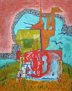 """""""Von Mauern und Zäunen""""  2019, 100x80 cm, Collage/Öl/Kreide auf Leinwand"""