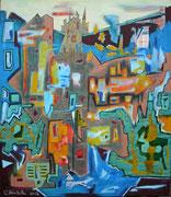 """""""Danach""""  (2017,  70x60cm, Collage/Öl/Kreide/Bleistift auf Leinwand)"""