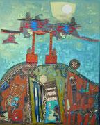 """Fragiles Gerüst""  2016,  100x80 cm, Collage/Öl/Kreide auf Leinwand"