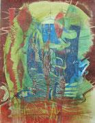 """Bündelei"" 2020, 65x50 cm  Holzdruck/Tusche/Kreide/Farb- u. Bleistift auf Büttenpapier"