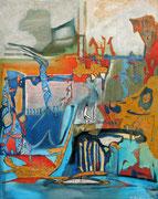 """""""Im Galopp in's Seichte""""  2015, 100x80 cm, Collage/Öl auf Leinwand"""