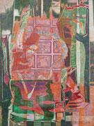 """""""Raum"""" 2020, 45x33 cm  Holzdruck/Tusche/Farb- u. Bleistift auf Büttenpapier"""