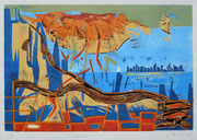 """Goldwolke""  (2018, Auflage 6, Papiermaß 43x61cm, Druckmaß 30x45cm)"