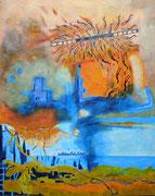 """""""Die Botschaft""""  (2018,  100x80 cm, Collage/Öl/Kreide auf Leinwand)"""