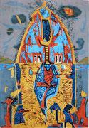"""""""Das Haus auf meinen Schultern"""" (2014, Auflage 6, Papiermaß 86x62cm, Druckmaß 61x42cm)"""