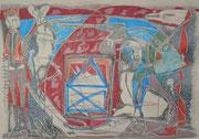 """""""Gestrandet""""   2017    38x54 cm       Bleistift/Buntstift auf Büttenpapier"""