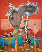 """""""Die Brandmauer""""  2015,  100x80 cm, Collage/Öl auf Leinwand"""