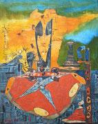 """""""Besitz""""  (2018,  100x80 cm,  Collage/Öl/Kreide auf Leinwand)"""