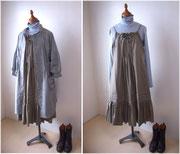 前開きコートと重ね着スタイル。