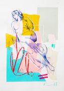 """Davide Ricchetti :"""" Aurora , esercizio su Michelangelo"""" ,  tecnica mista su carta, cm 40x25, 2016. In permanenza presso la Galleria dArte moderna e contemporanea Bruno, Villa s.Giovanni"""