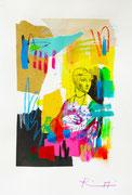 """Davide Ricchetti """"Dama con ermellino, esercizio su Leonardo da Vinci"""" tecnica mista su carta 2016"""