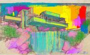 """Davide Ricchetti: """"Casa Kaufmann"""", arte digitale con ProCreate-IPad Pro  , 2020."""