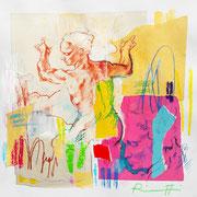 """Davide Ricchetti :"""" studio per la Sibilla Libica """", tecnica mista su carta, cm 30x 20, 2016"""