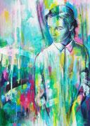 """Davide Ricchetti """" Alla finestra"""" tecnica mista su tela 2015"""