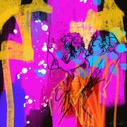 """Davide Ricchetti: """"particolare del Profeta Ezechiele"""", volta della Cappella Sistina, arte digitale, ipad, Procreate, 2019"""