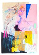 """Davide Ricchetti """" Ignuda sul Gioele"""" (particolare dalla Cappella Sistina), tecnica mista su carta, cm 70x50, 2016"""