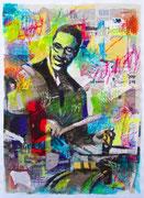 """Davide Ricchetti : """"the drummer"""" tecnica mista su carta , cm 70x50, 2015"""